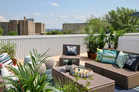 Roof deck with multiple spaces.