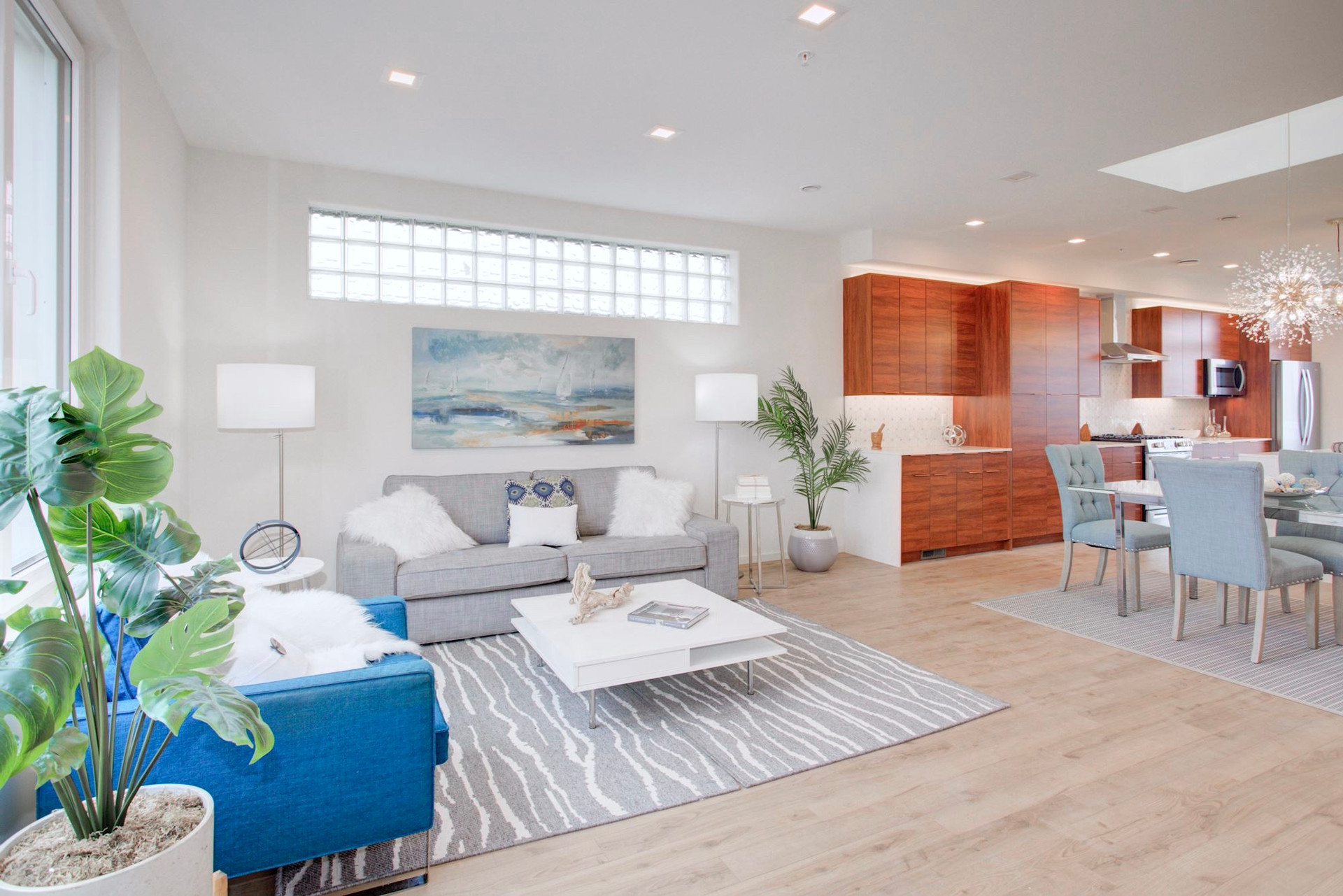 Super bright penthouse living areas with 9' windows and skylight