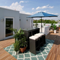 Roof deck has multiple spaces