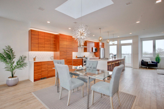 Penthouse open plan living, kitchen, dining and den