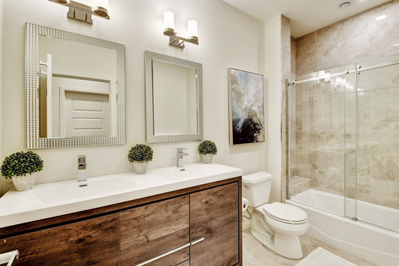 Dual sink shared bath for bedrooms.