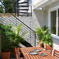 Private patio space for lower units with hook ups for full kitchen