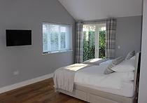 Bright open plan bedroom area