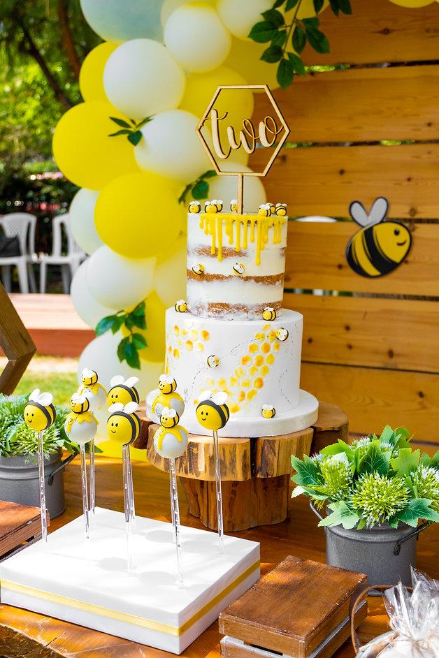 Bee, honey, honeycomb themed in wood ton