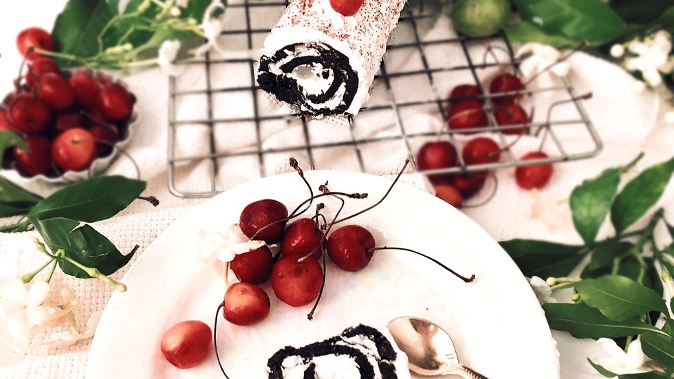 Chocolate-cherry Swiss roll