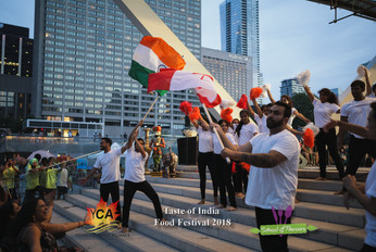 Celebrating the performance with Canadian & India flag respecting both the countries