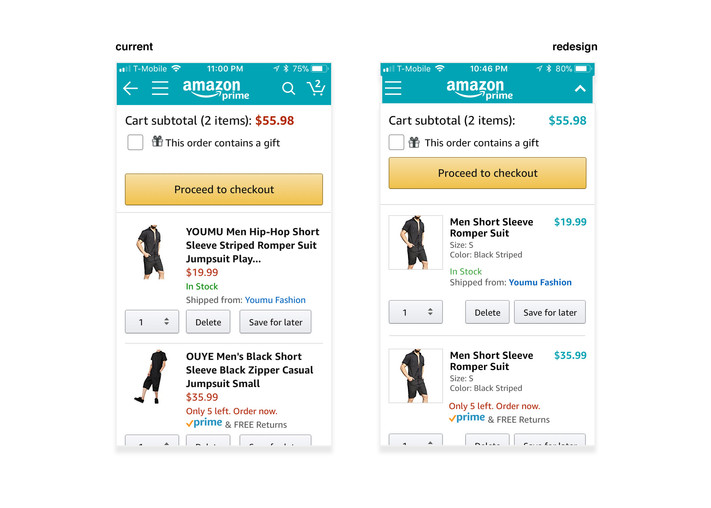 Improving Amazon Mobile App's Shopping Cart Flow