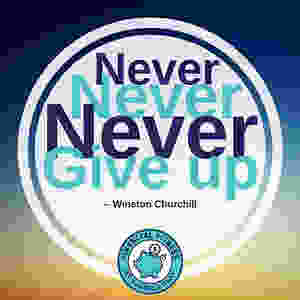 Winston Churchill quite - never give up - MoneyMatters.Life