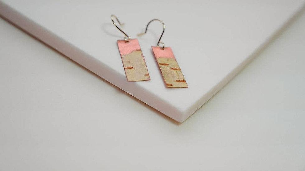 Short Thin Birch Bark Earrings