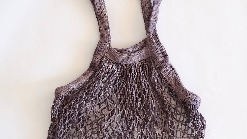 Naturally Dyed Mesh Market Bag in Plum