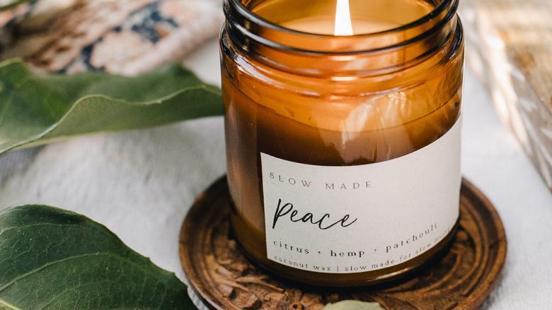 Peace Candle / Slow Made, citrus, hemp + patchouli