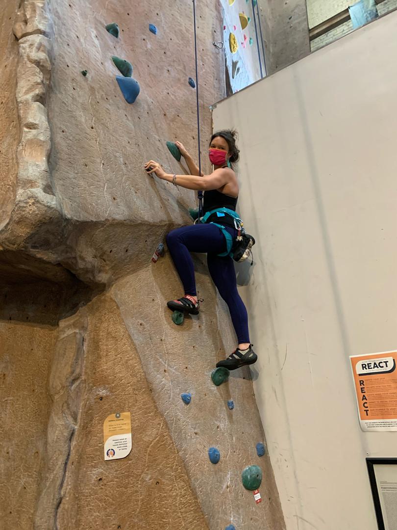 Michelle Mask climbing