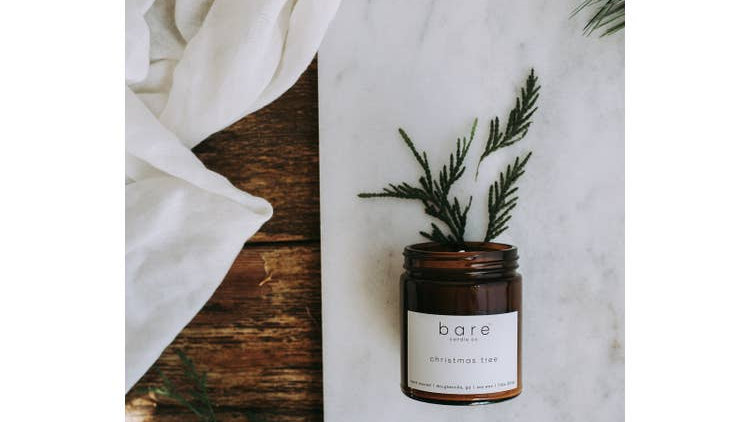 Christmas Tree Soy Candle 7.2oz  // Bare Candle Co