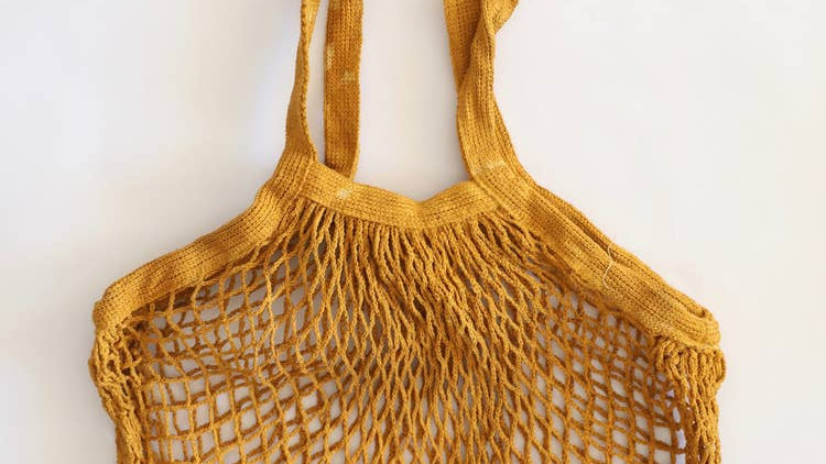 Naturally Dyed Mesh Market Bag in Mustard