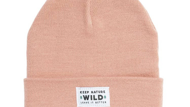 Keep Nature Wild Evergreen Cuffed Beanie in Rose