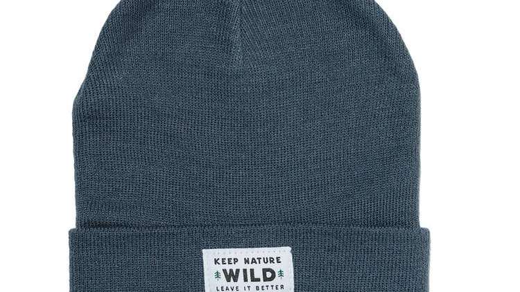 Keep Nature Wild Evergreen Cuffed Beanie in Slate