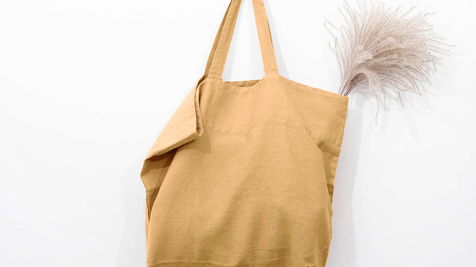 Linen bag in Ochre