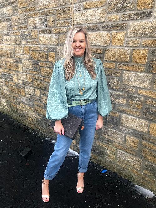 Mum Fit Soft Jeans with Sage Belt