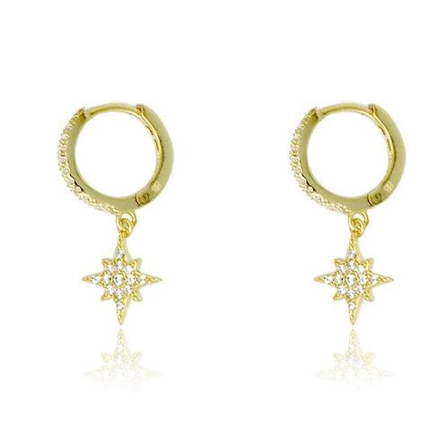 Cohan Gold Star Hoop Earrings