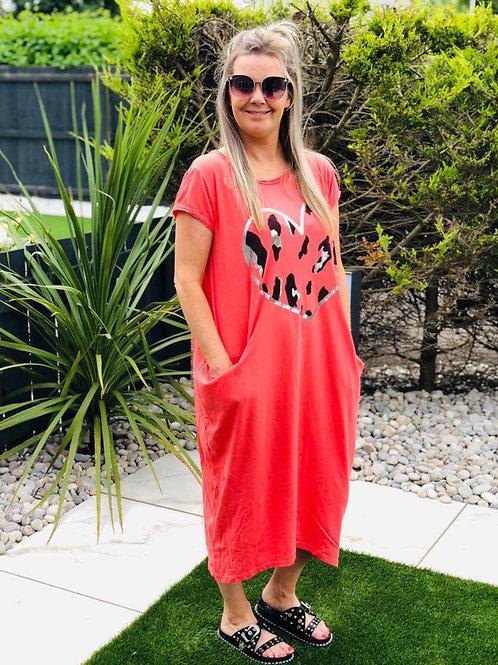 I heart you Coral Dress