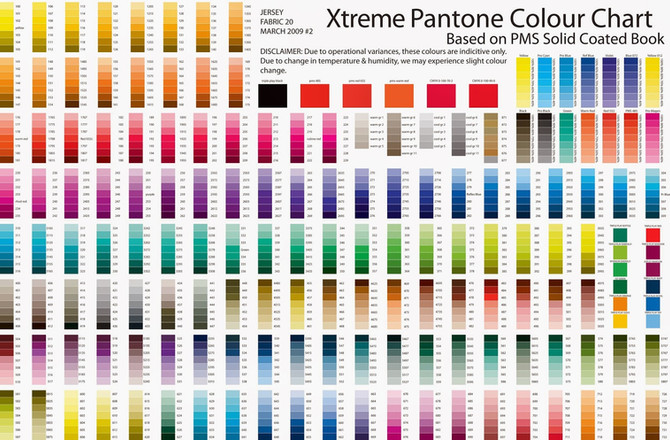 Full Pantone Colour Chart