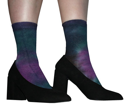 Tie dye socks, space, purple, blue, teal, green unique, dip dye, ombre, hand dyed. Cotton, kawaii , unicorn