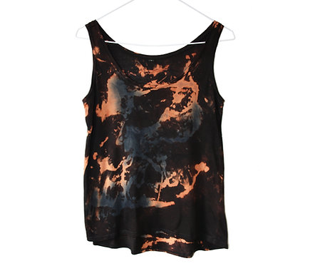 Tencel Lyocell, lyocel fabric fibre.  Vest Cami top t shirt, t-shirt.  Tie dye acid wash.  orange blue black