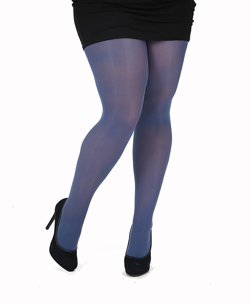 opaque 40 denier denim blue tights, block colour, colourful, colorful, kawaii style, japanese fashion, bright, bold