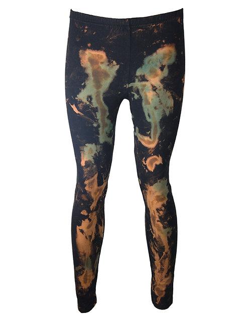 tie dye dip dye cotton leggings, acid wash, rust orange green black, thick yoga clothing, kawaii style japanese fashion