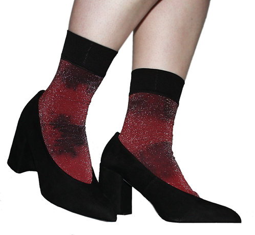 Hand dyed metallic ankle socks, red, black glitter, sparkle, lurex, glittery, sparkly, shimmer, christmas, xmas, party
