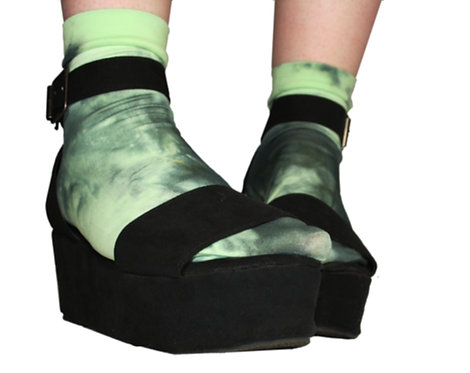 Mint Unique ankle socks, tie dye, dip dyed, autumn fashion, sneakers, stylist