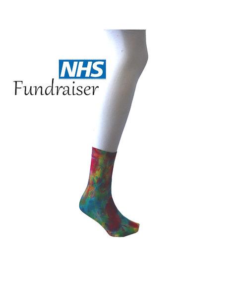 Tie dye ankle socks, 40 denier pop socks, rainbow hippy, hippies, psychedelic, LGBTQ+, PRIDE, red, pink, blue, yellow green