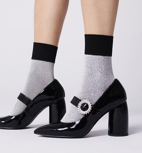 Metallic ankle socks, silver, black, glitter, sparkle, sparkly, glitter, glittery, lurex, party, kawaii style, japanese
