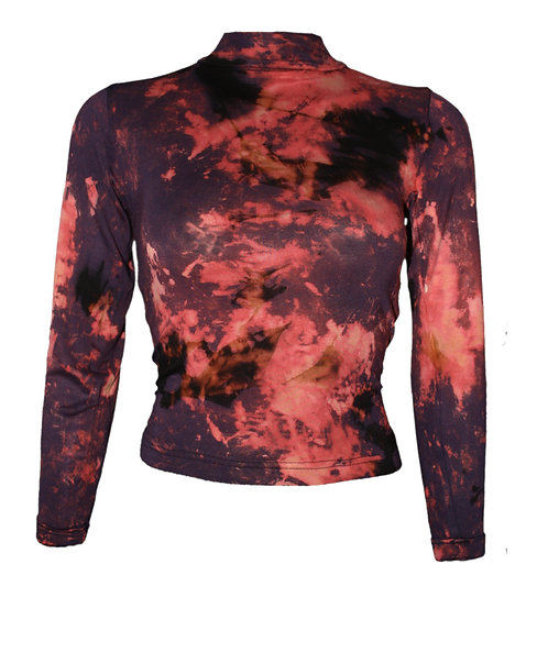 CROPPED BODYCON long sleeved polo neck top, crop tie dye, dip dyed sleeved, acid wash, BLUE, PINK, purple, black, nebula,