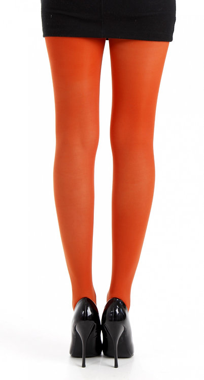 Colourful tights, colorful stockings, hosiery, pantyhose, opaque 50 denier, kawaii style, rust orange, bright, pumpkin spice