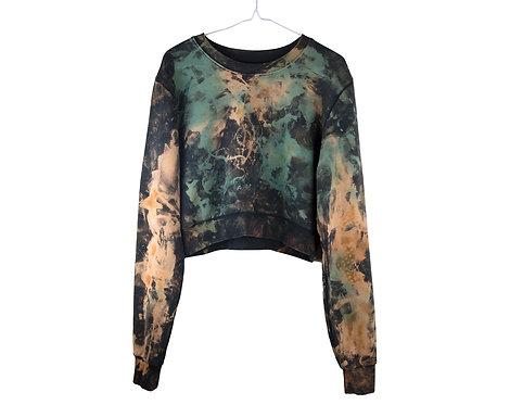 Fair trade sustainable tie dye cropped sweatshirt, sweater, crop sweat shirt, acid wash, green, rust orange, black, premium
