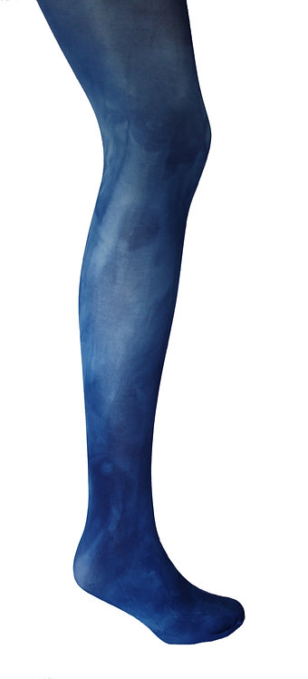 Hand dyed tie dye tights, patterned hosiery, plain colour, bright bold color, japanese stye kawaii fashion cute fun navy blue