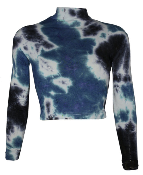 Blue, Black, white, polo neck, mock neck, coachella festival, burning man,tie dye, colourful, colorful, shibori