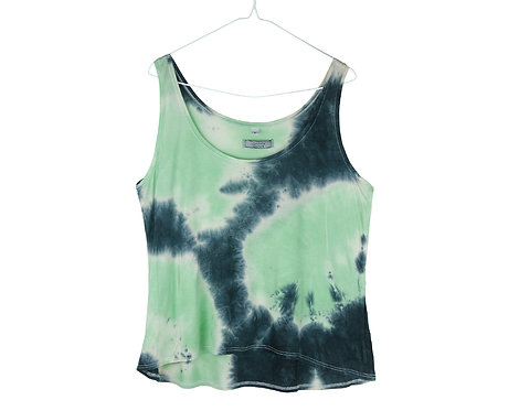 green Tencel Lyocell Lyocel Eco friendly fair trade vest top.  Floaty drape Cami tshirt.  Tie dye acid wash festival clothing