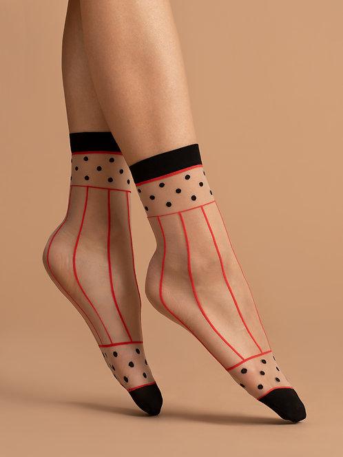 Sheer ankle socks, red, black, beige, striped, patterned, kawaii, cute, style, modern, 80s, 80's, 1980's, eighties, spot, dot