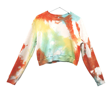 Fair trade sustainable tie dye cropped sweatshirt, sweater, crop sweat shirt, rainbow, blue, turquoise, red, orange, yellow,