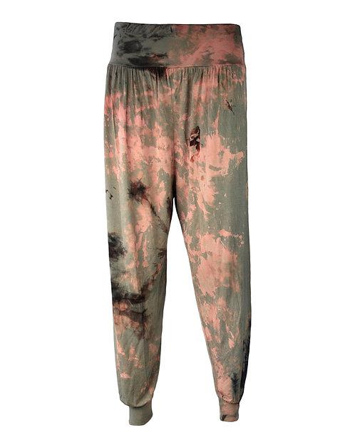 Harem trousers, loose yoga bottoms, tie dye dip dyed, visose, rayon, green, olive khaki, ali baba, pants, shibori