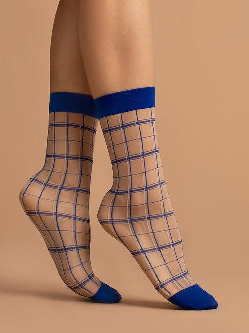 Sheer ankle socks, check, pattern, white, blue, checker, patterned, square, geometric, kawaii, cute, japanese, plaid, tartan
