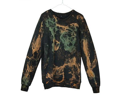 tie dye organic cotton sweatshirt, fair trade wear, shibori, unisex, jumper, sweater, green black, sustainable eco-friendly