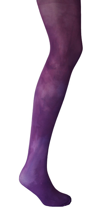 Hand dyed tie dye tights, patterned hosiery, plain colour, bright bold color, japanese stye kawaii fashion cute dark purple