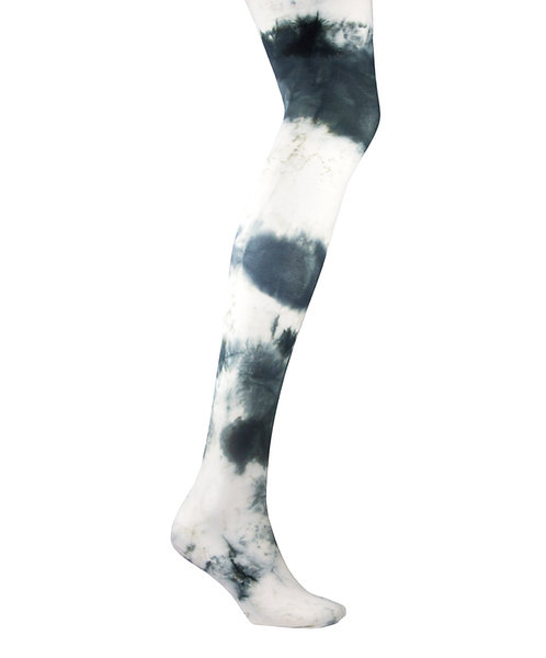 smokey black whit Tie dye, hand dyed dip dyed opaque tights.  patterned hosiery japanese fashion kawaii style cute patterned