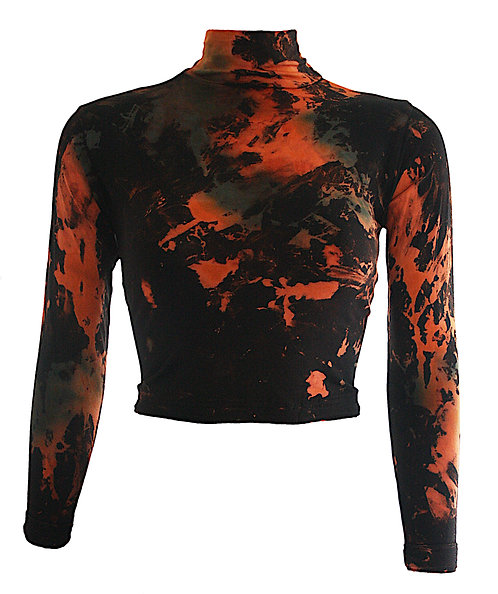 CROPPED BODYCON long sleeved polo neck top, crop tie dye, dip dyed sleeved, acid wash, rust, orange, green, black mock turtle