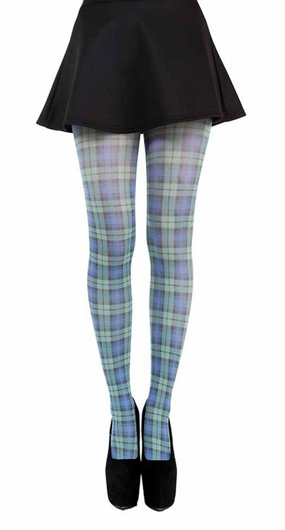 BLUE TARTAN printed 40 denier Tights - PAMELA MAN