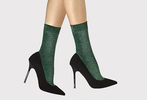 Green Metallic Ankle socks, glitter, lurex, shiny tulle  FiORE, fiore, christmas party tights, kawaii style, japanese fashion