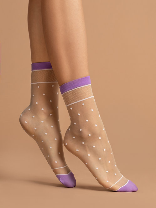 Sheer ankle socks, neon lilac, violet, purple, white, checked, spot, dot, spotty, dotty, kawaii, cute, delicate,